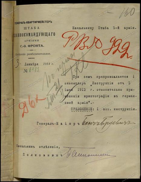 Пример криптографии в Германской армии до ПМВ