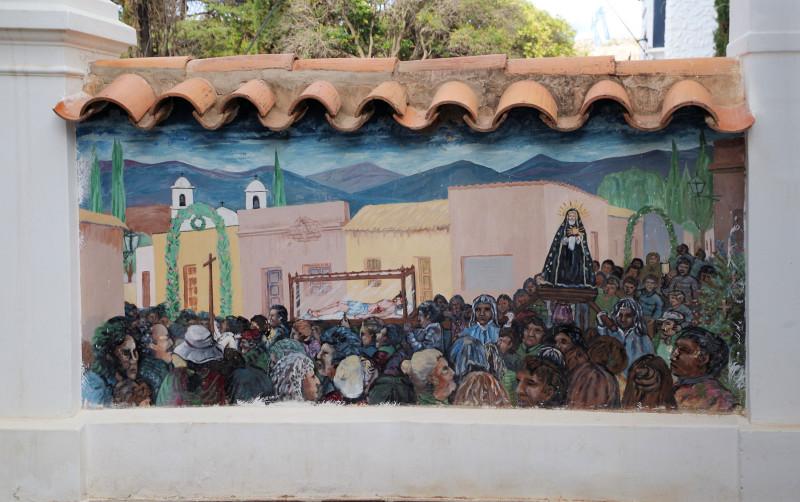 Фреска на ограде церкви
