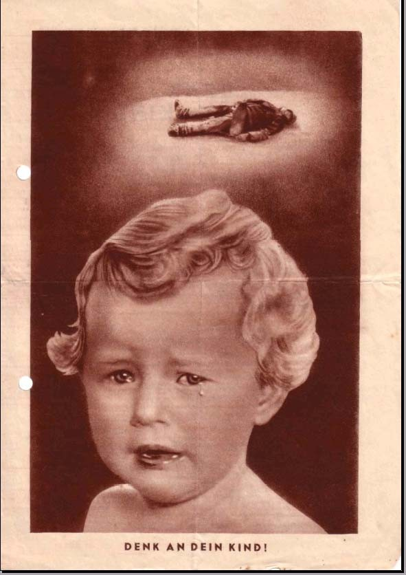 096 Вместе с бомбами на голову немцев падают советские листовки. Эта листовка призывает немецкого солдата подумать о своих детях.