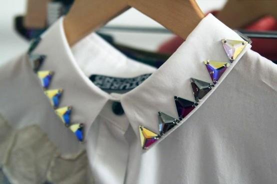 как украсить воротник рубашки