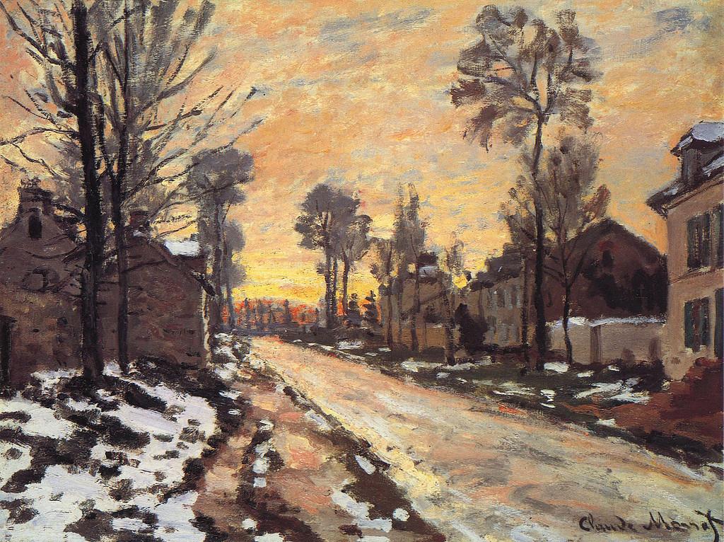 Дорога в Лувесьенн, тающий снег, закат. 1870г.jpg