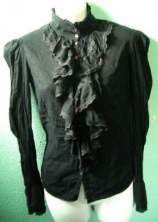 Distressed Black ruffle blouse
