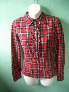 Long sleeve plaid ruffle blouse