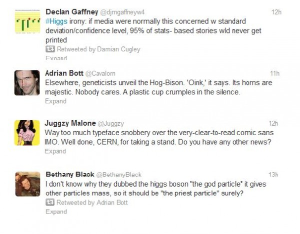 higgs tweets