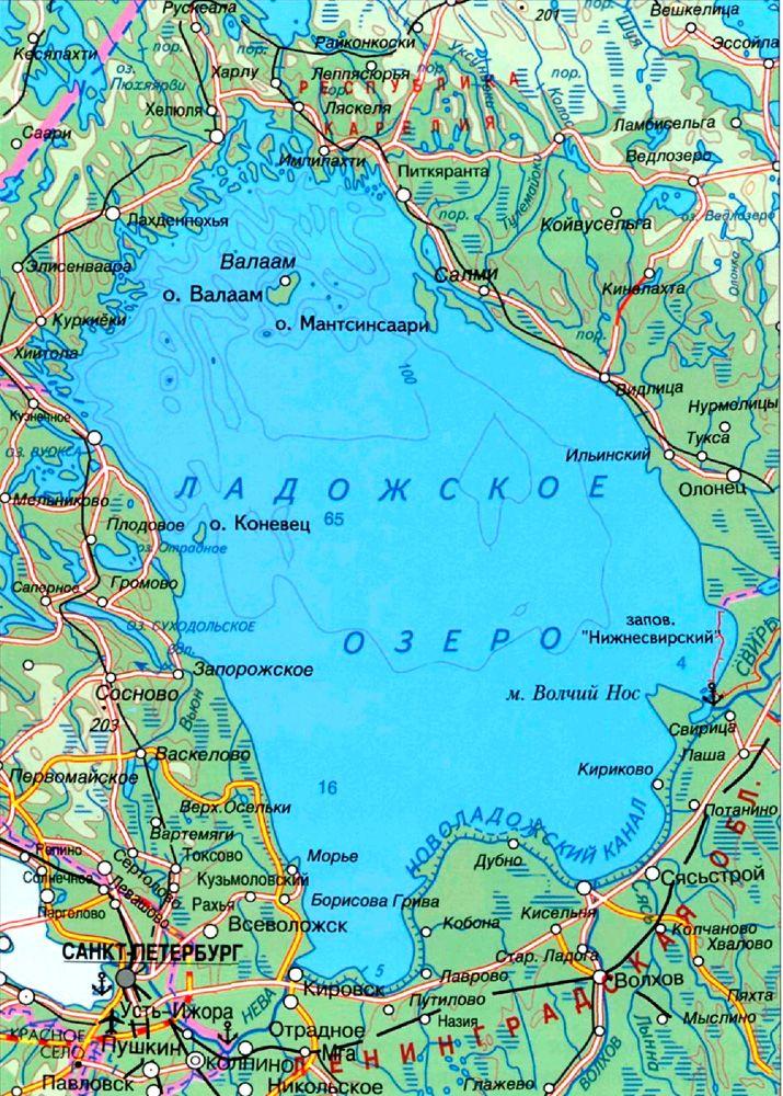 Карта Ладожского озера. Единственный порт на западном берегу, существовавший в 1941 году, - Приозёрск - в то время уже был занят финнами