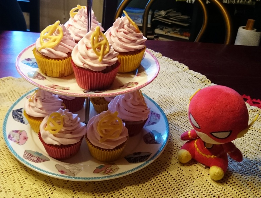 Yummy looking cupcakes and a grumpy looking Flash plushie.
