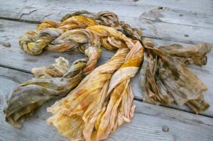 шелковый шарф эко принт