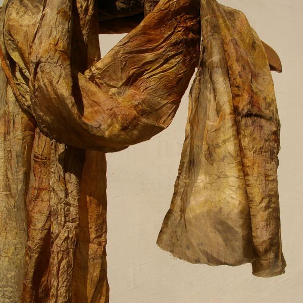 шелковый шарф, экопринт