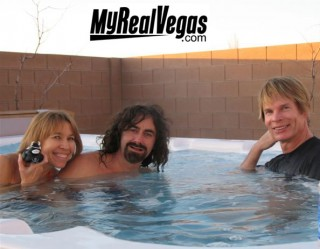 relaxing in our 12 person hot tub outside Las Vegas in the sweet desert
