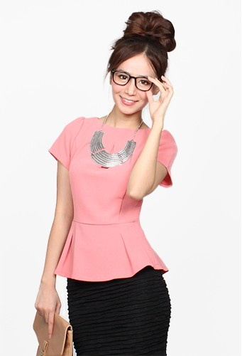 Catwalkclose Maybelle Peplum Top in Salmon Pink Size L