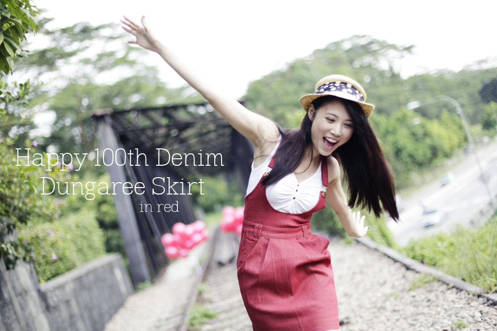 TTR Happy 100th Denim Dungaree Skirt in Red