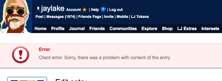 LiveJournal Error Message