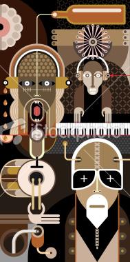 dan chetverikov, art, collage, rock music, vector illustration