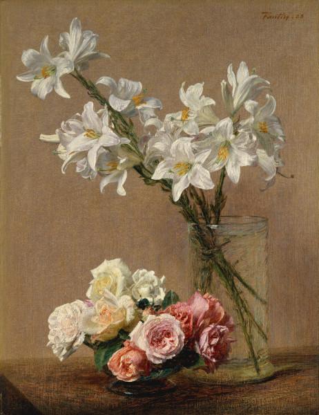 1_1888_Розы и лилии (Roses and Lilies)_59.7 x 45.7_х.,м._Нью-Йорк, Музей Метрополитен