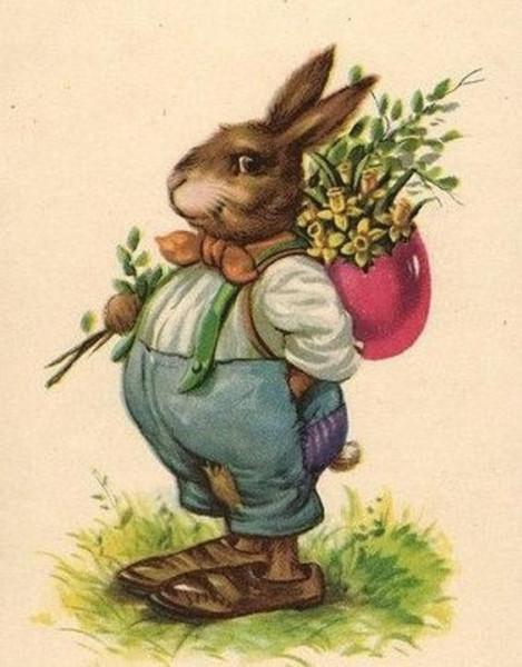 Открытки с пасхальными кроликами