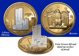 """The two pieces are clad in 15 mg each of 24 KT pure gold and .999 Pure Silver – priceless silver recovered from a bank vault in the ashes of Ground Zero. The Twin Towers can be raised to stand on the face of the proof – the proof is transformed into a standing sculpture of the Twin Towers! On the obverse is our promise: """"We Will Never Forget"""" and """"In Memory September 11, 2001"""" above the double date 2001-2006. On the reverse, a powerful eagle proclaims """"God Bless America"""" under 5 stars, one for each year since 9/11. The stunning design of this magnificent September 11th memorial proof is a 24 KT gold and .999 Pure Silver clad tribute to all who were lost on that fateful day."""