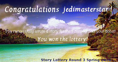 My banner for completing Round three of Story Lottery!