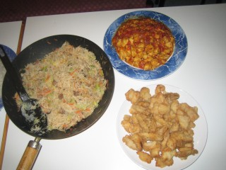 Tzu Wei's Fried Beehoon, Jonathan's Spicy Chicken (which was not spicy!) and Jean's Sweet and Sour Fish.. Yum!