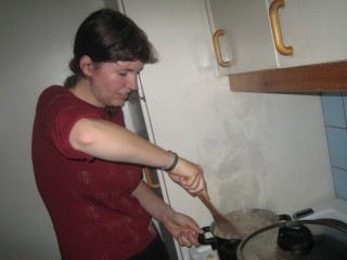 Marielle, who did an excellent job of stirring the chicken and potatoes in a small pot!