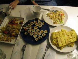 Dinner: Fried Potatoes, Korean Kim-Bahp, Spanish Omelette and Salad with pasta