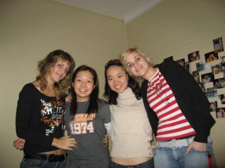 L-R: Judit from Spain, I, Sae-Won from South Korea, gal from Czech Republic