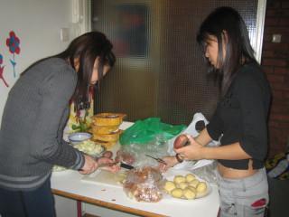 Shan Ru and I preparing for dinner