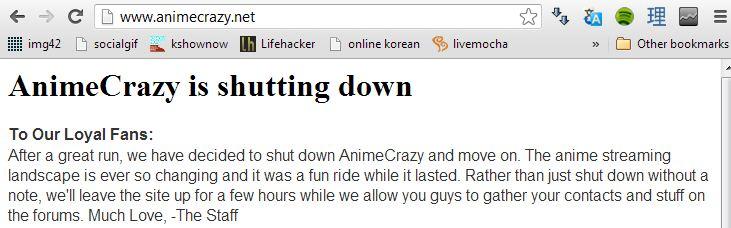 Goodbye AnimeCrazy!