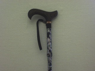 Blue cane with flower pattern