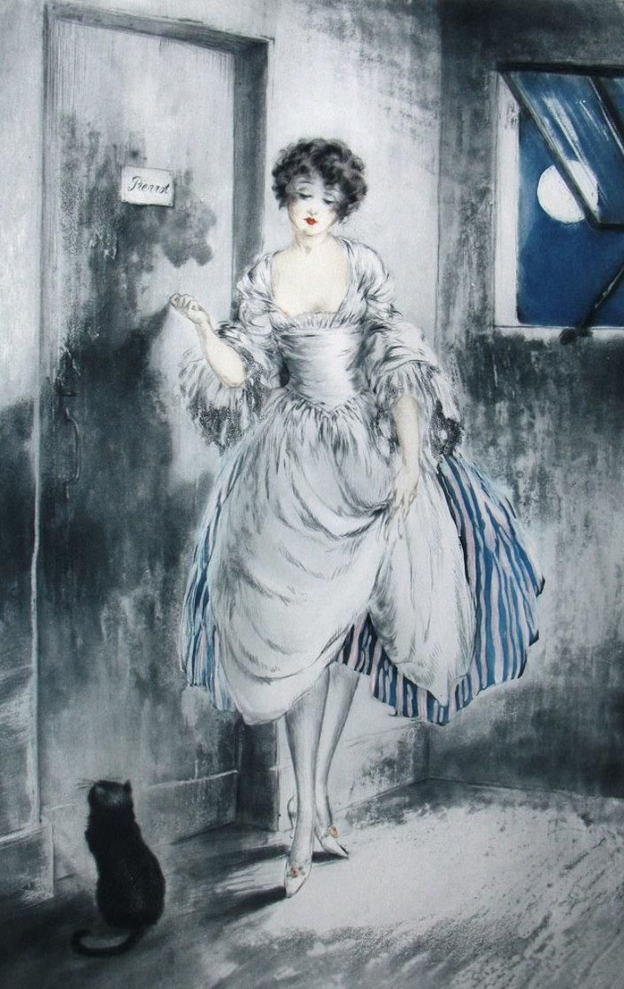 Louis_Icart_Pierrot_By_the_Moonlight_1927