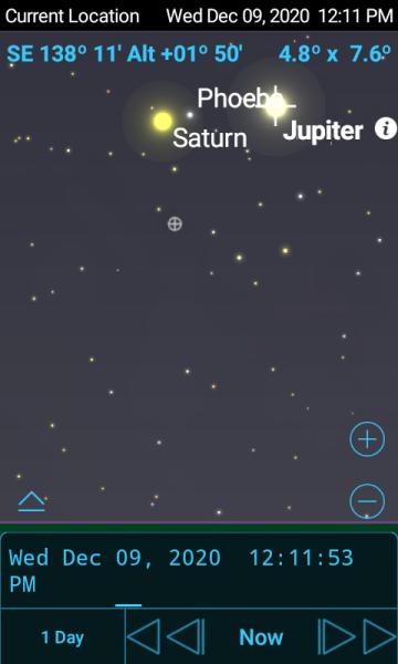 Юпитер и Сатурн на небе 09-12-2020, СкайСафари