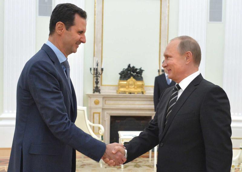 Президент Сирии Башар Асад, президент РФ Владимир Путин.