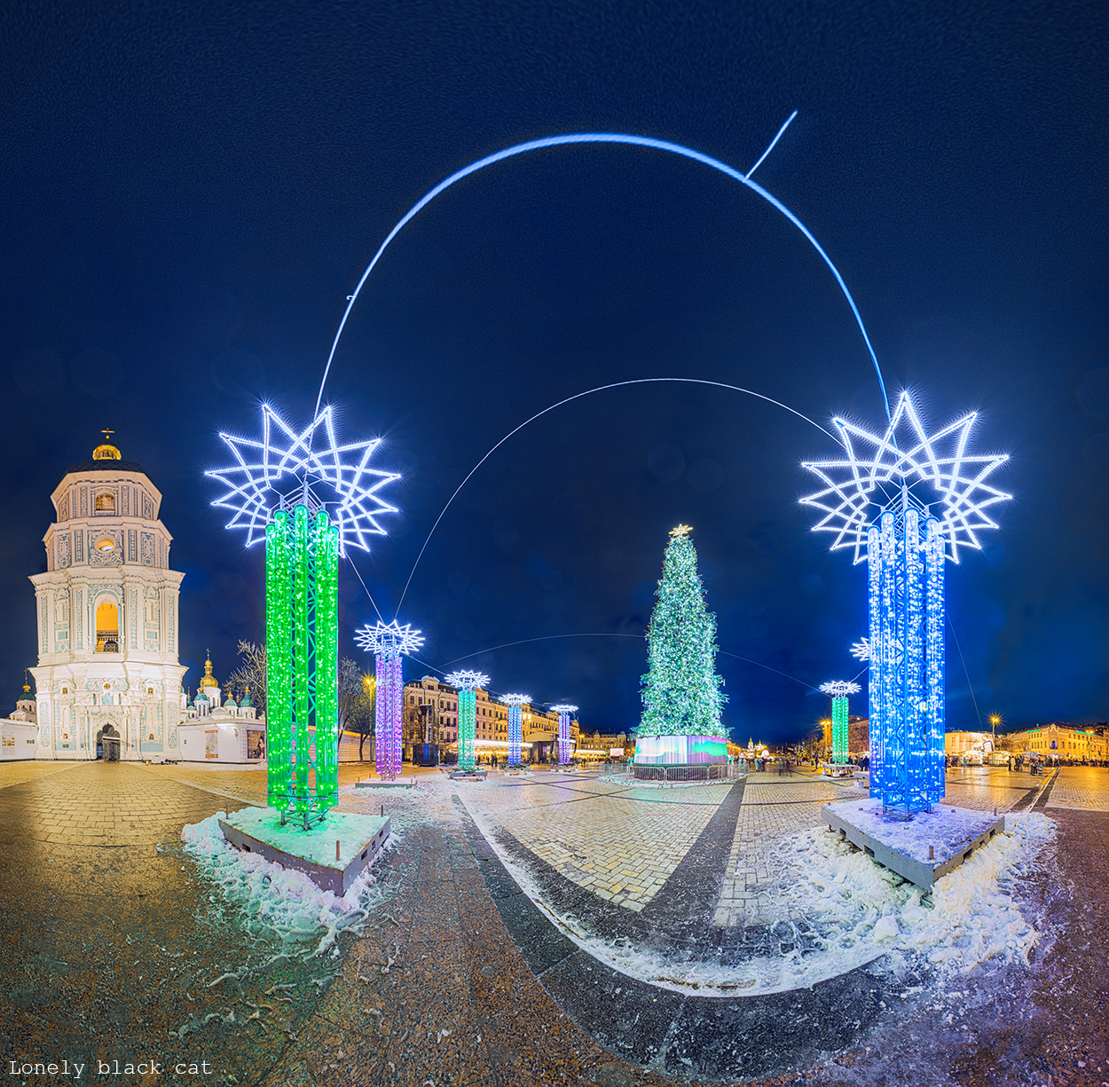 Sofia Square at christmas in Kyiv photography by lonelyblackcat