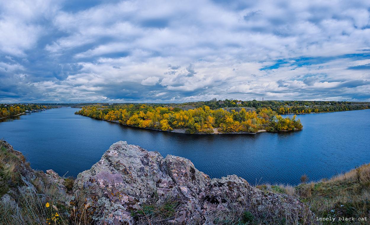 landscape of island of Zaporizhia photography