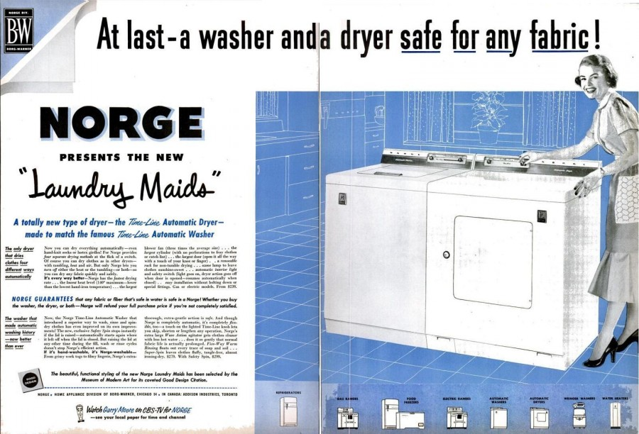 life Sep 28, 1953 norge laundry maids washer dryer spread