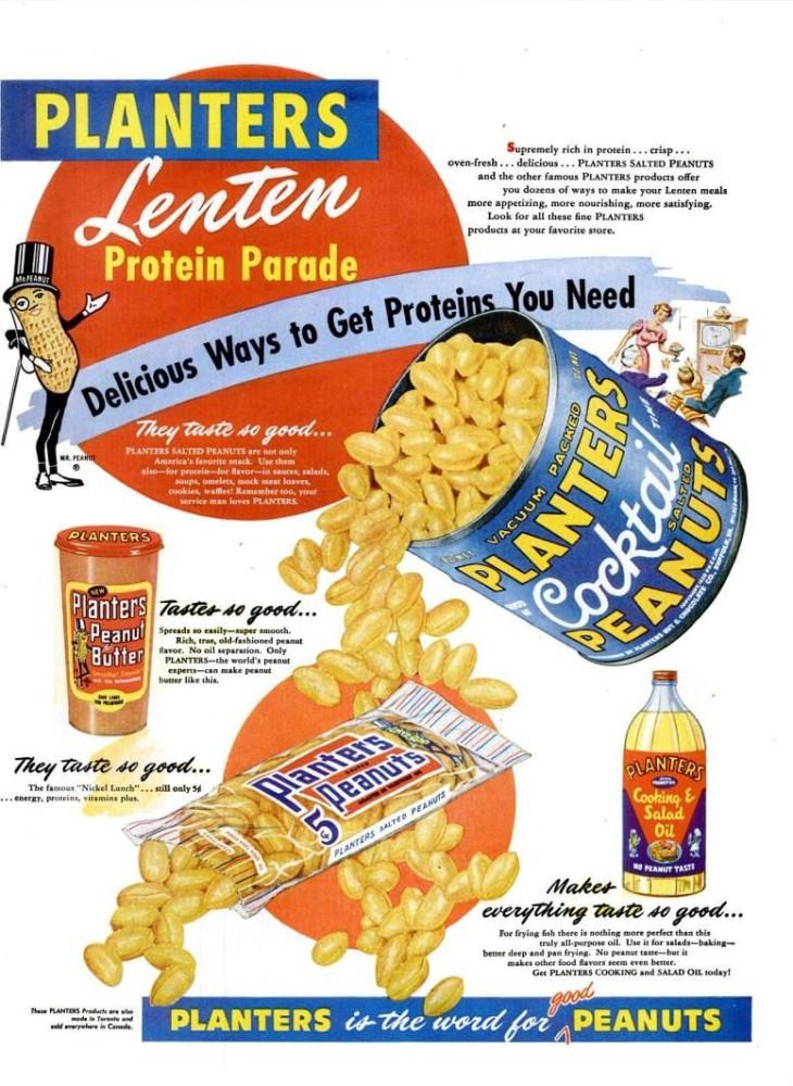 Planters Peanuts Lenten LIFE Feb 21, 1955