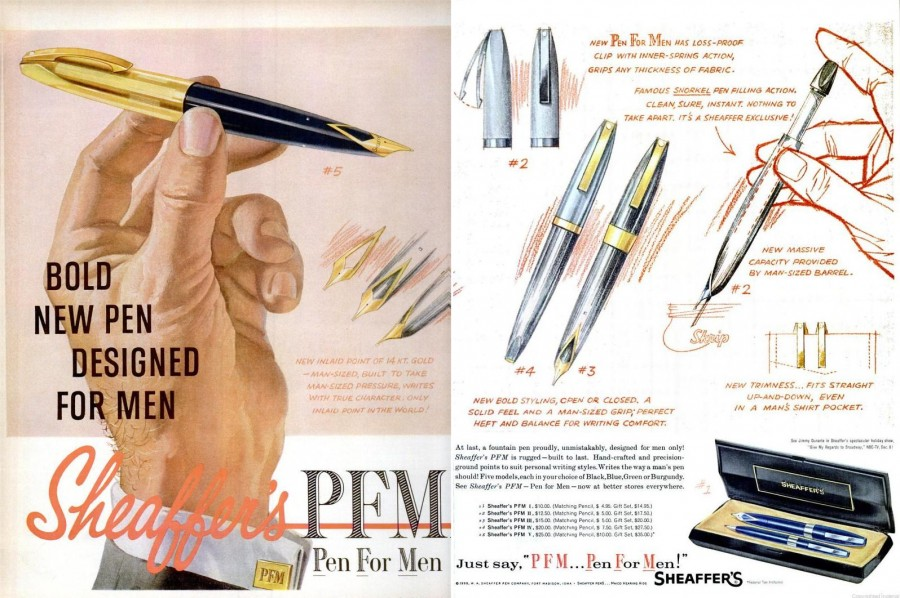 Ebony Dec 1959 sheaffer's pen for men spread