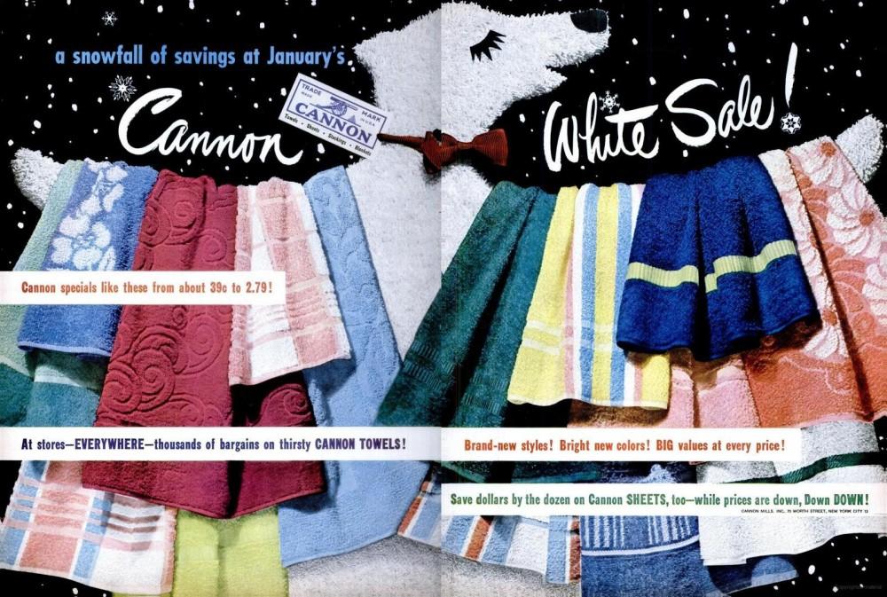 LIFE Jan 9, 1950 canon white sale towels spread