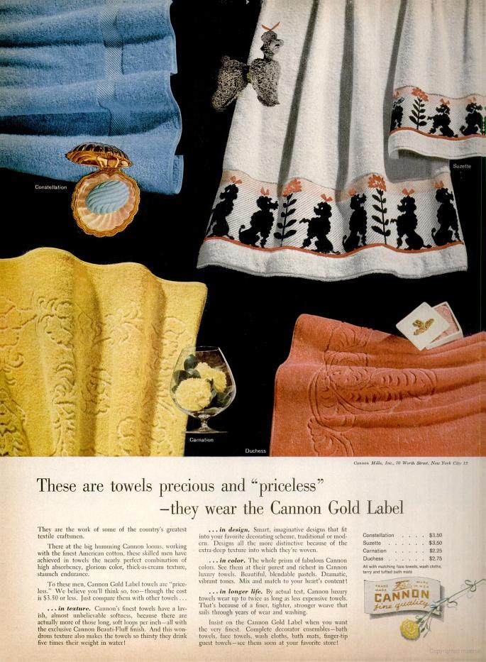 LIFE Oct 5, 1953 cannon towels
