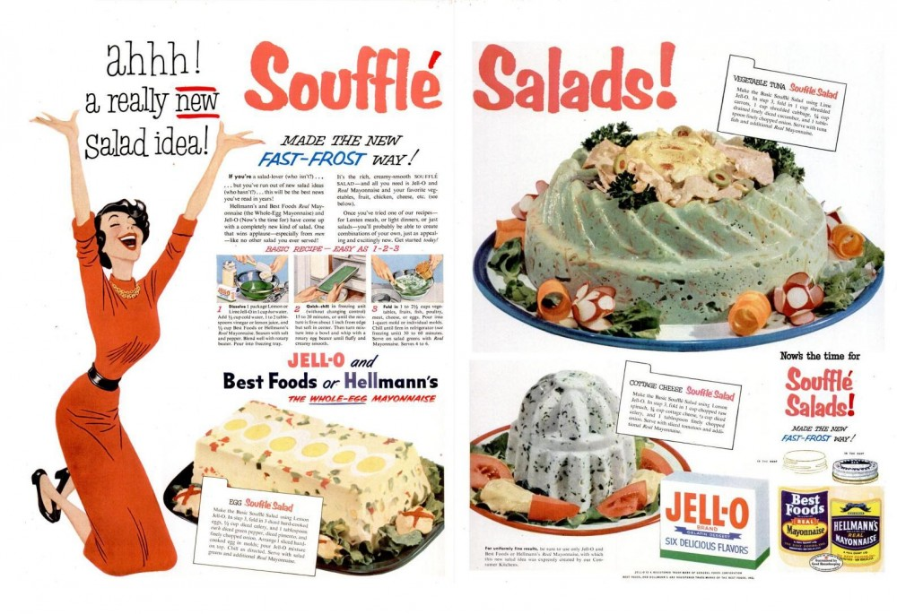 LIFE Feb 23, 1953 souffle salads jell-o gelatin mayonnaise tuna regrettable spread