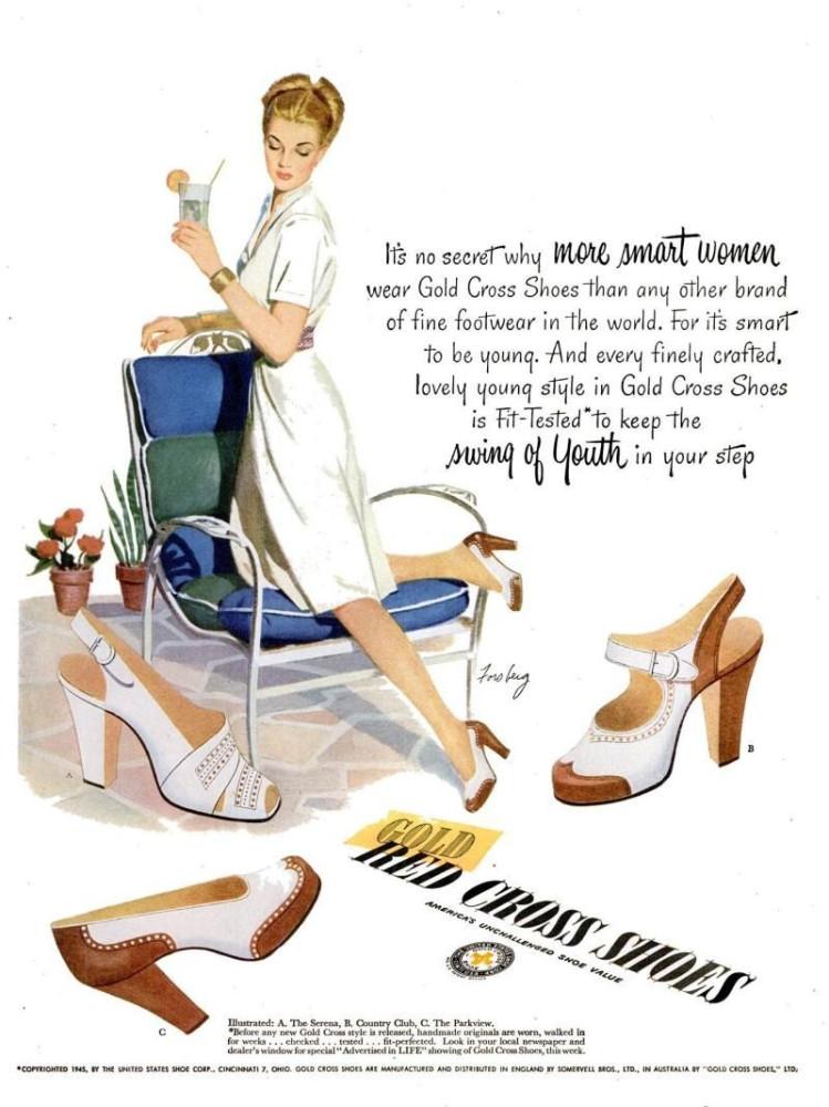 LIFE Apr 21, 1947 gold cross shoes