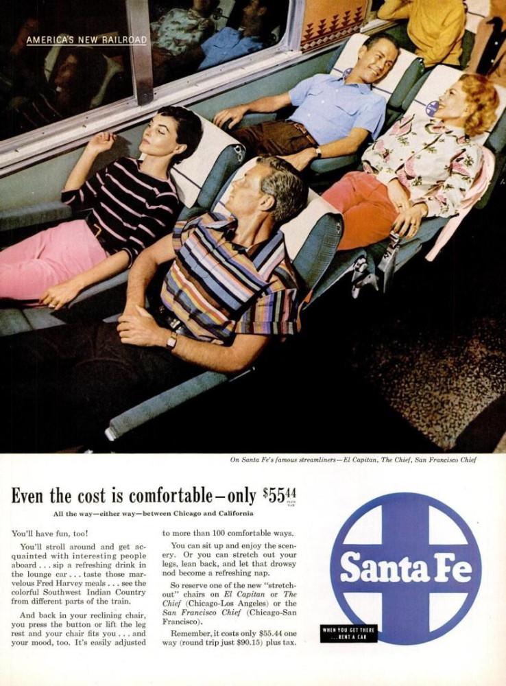 LIFE May 16, 1955 santa fe railroad transportation recliners not now