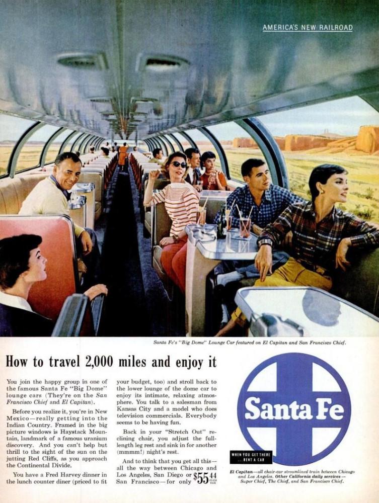 LIFE Apr 11, 1955 santa fe railroad big dome color