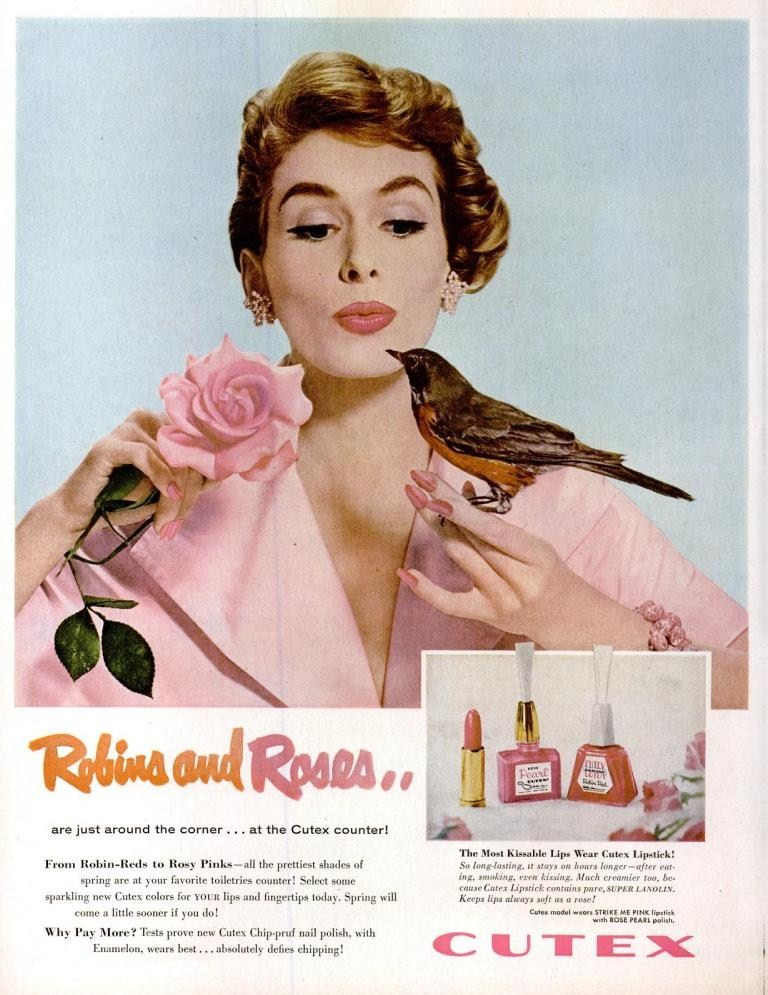 LIFE Mar 14, 1955 cutex nail polish lipstick pink robins and roses