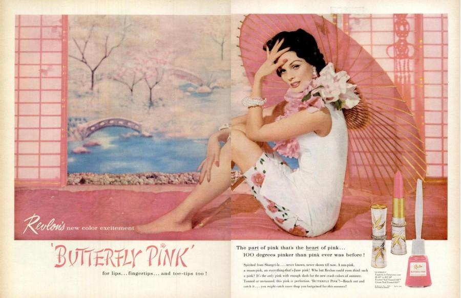 LIFE June 9, 1958 Revlon Butterfly Pink Lipstick Nail Polish spread