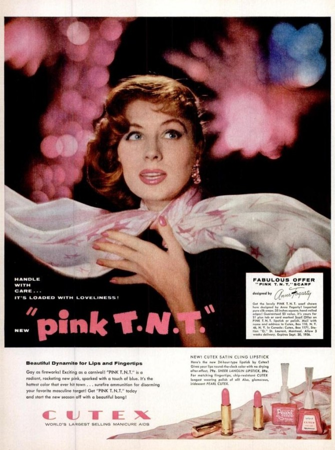 LIFE May 28, 1956 pink tnt lipstick nail polish cutex