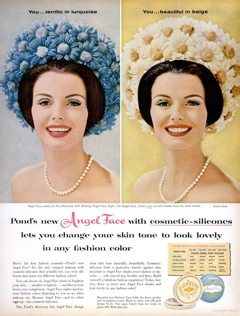 Angel face makeup with cosmetic silicones vintage ads life jul 11 1960 angel face skin tone makeup nvjuhfo Gallery