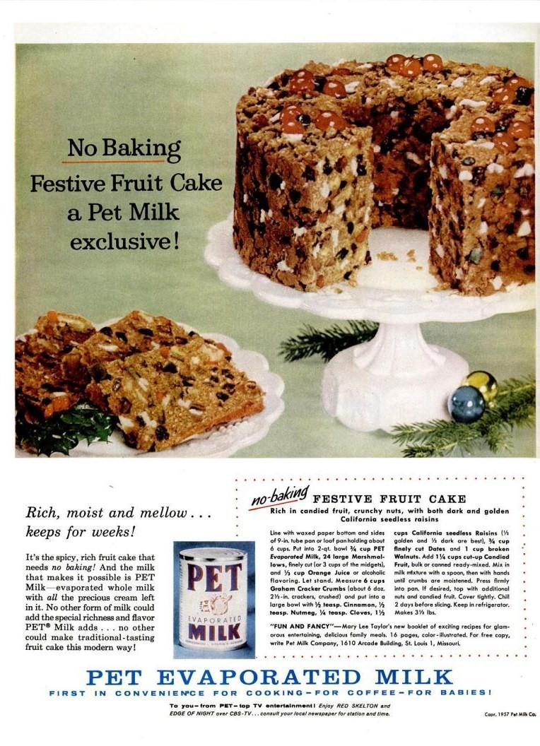 life dec 2 1957 pet evaporated milk no bake fruitcake marshmallow recipe christmas