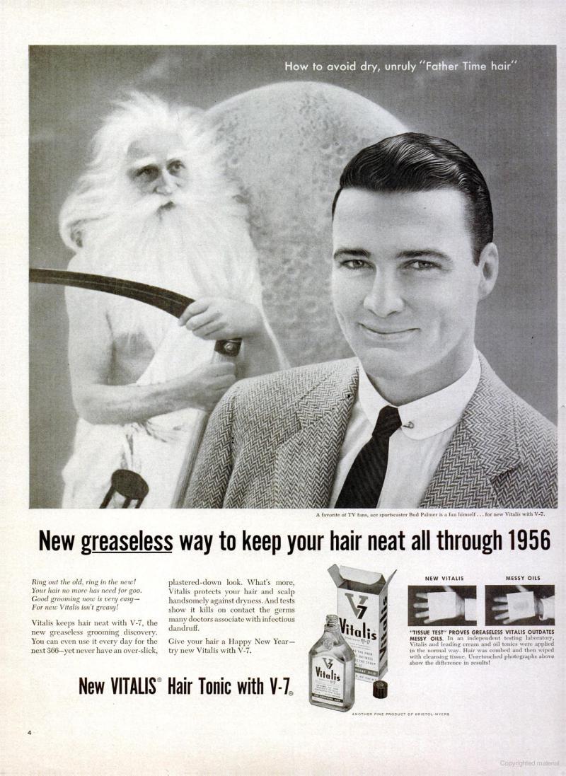 vitalis hair tonic vintage vitalis hair tonic 1956 father time vintage ads