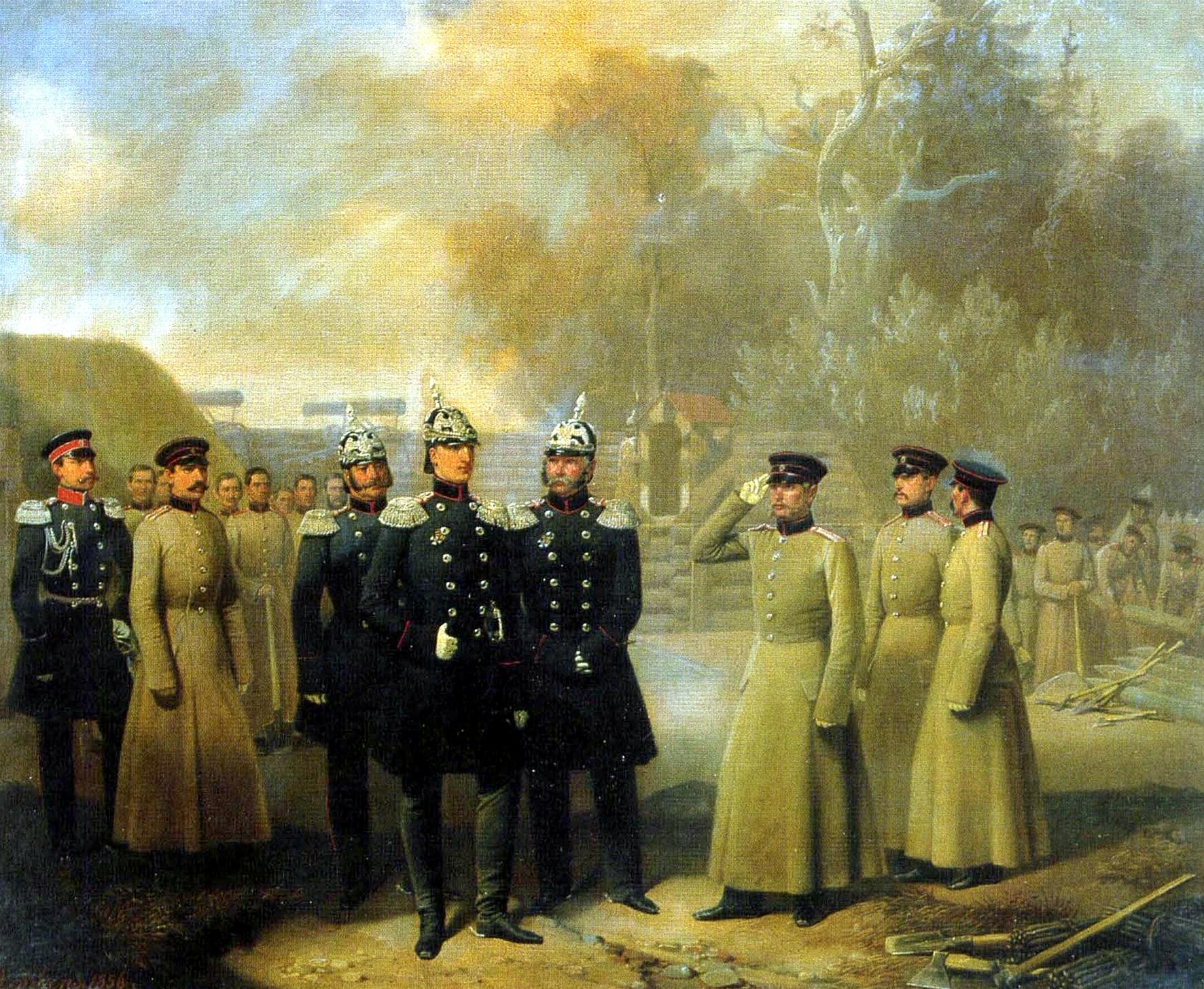 Великий князь Николай Николаевич Старший осматривает работы гвардейских сапёров в устье Невы - копия - копия