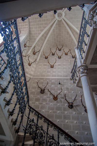Замок глубока над влтавой - лестница ведущая на смотровую площадку замка